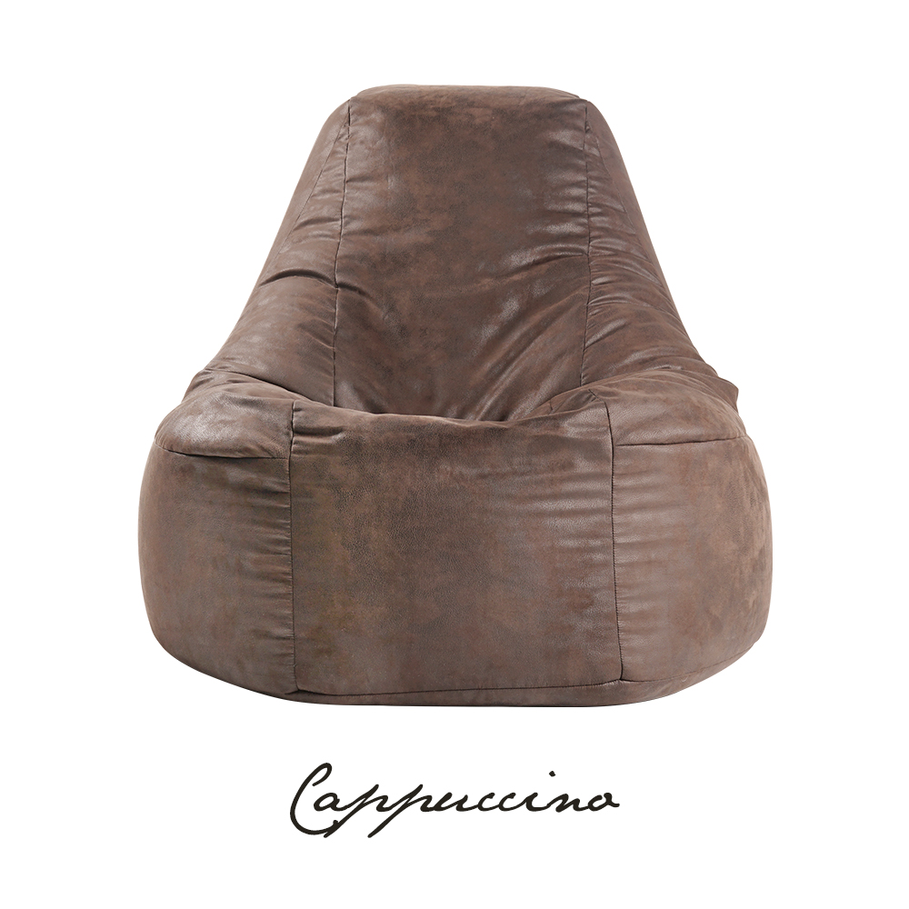 SoftRock Living Singapore Bean Bags Leather-print upholstery bean bag couch espresso cappuccino aesthetic artisan artisanal furniture industrial scandinavian leather minimalist interior living room bedroom
